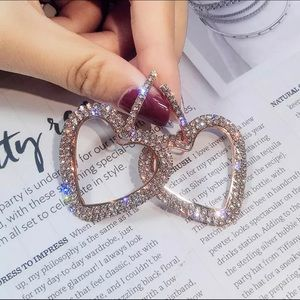 Rose Gold Rhinestone Heart Earrings